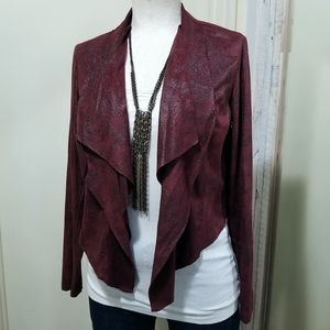 Knox Rose Burgundy Faux Leather Open Collar Jacket